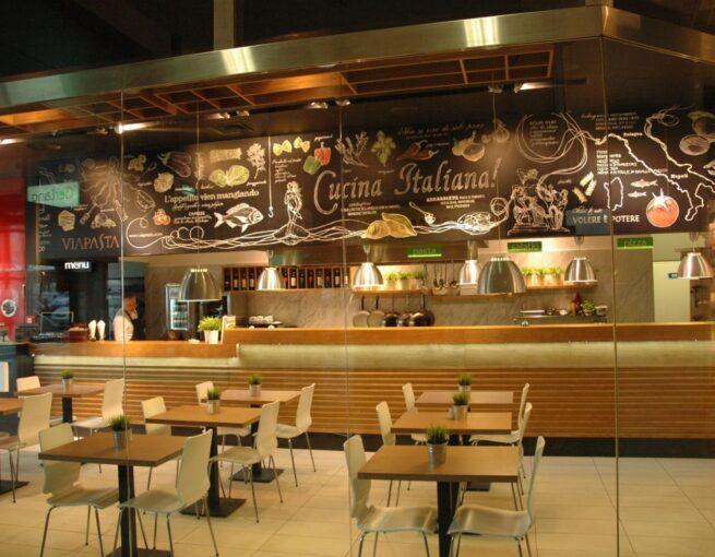 aranżacja wnętrza restauracji Viapasta Gdynia
